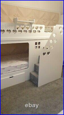 Deluxe Kids Funtime High Sleeper Bunk Bed With Drawer and Scarlett inscription