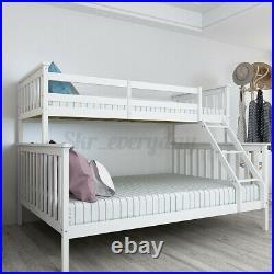 Double Bed Bunk Beds Frame Triple Pine Wood Kids Children Bed Frame With Stairs