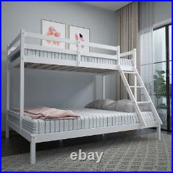 Double Bed Bunk Beds Triple Pine Wood Kids White Children Bed Frame With Stairs
