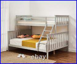 Double Bed Triple Bunk Bed Frame 3ft / 4ft6 Bed Frame Solid Wood with Stair Grey