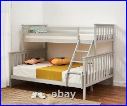 Double Bed Triple Bunk Bed Frame Solid Wood with Stair 3ft / 4ft6 Bed Frame Grey