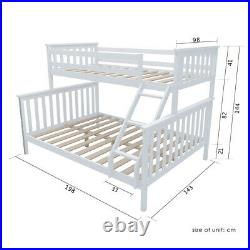 Double Bed Triple Bunk Bed Frame Split Into 2 Beds with Stairs Twins Adult Kids UK