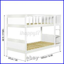 Double Bunk Bed Bed Wooden Bed Frame White Pine Sleeper Ladder Kids Single 3FT