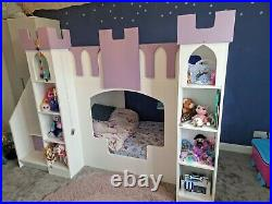 Dreams joinery princess castle bunk bed purple and white