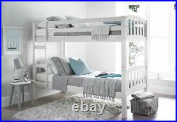 Europa America 2FT6 x 6FT3 Small Single White Wooden Bunk Bed With 2 Mattresses