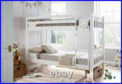 Europa Barcelona 3FT x 5FT3 Short Single White Wooden Shorty Bunk Bed with 2 Matts