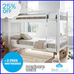 Europa Primo Barcelona 2FT6 x 6FT3 Small Single White Wooden Bunk Bed