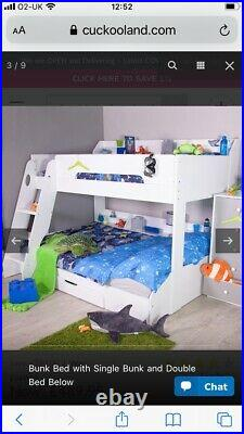 Flick triple bunk bed white (stairs)