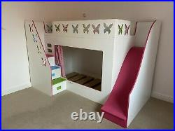 Girls Bespoke Butterfly Single Bed Bunk Bed with Steps, Slide, Curtain & Drawers