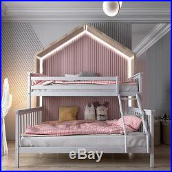 Grey Triple Sleeper Bunk Bed Wooden Bed Frame for Children Adults Home Furniture