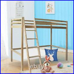 High 3FT Single Bed Kids Bunk Sleeper Loft Cabin Beds with Ladder Pine Wood Unit