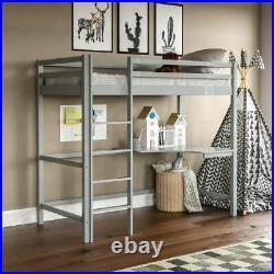 High Sleeper Bunk Bed Cabin Loft Bed Frame Desk Pine Wood Kids Single 3FT Grey