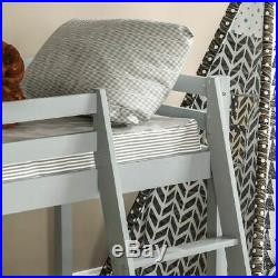 High Sleeper Bunk Bed Cabin Loft Bed Storage Ladder Kids Wood 3FT Single Grey