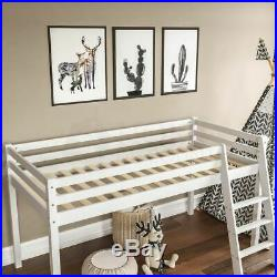 High Sleeper Bunk Bed Cabin Loft Bed Storage Ladder Kids Wood 3FT Single White