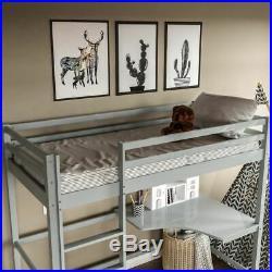 High Sleeper Bunk Bed Cabin Loft Bed Study Desk Kids Pine Wood 3FT Single Grey