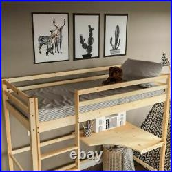 High Sleeper Bunk Bed Cabin Loft Bed Study Desk Kids Pine Wood 3FT Single Pine