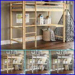 High Sleeper Bunk Bed Cabin Loft Bed Study Desk Kids Pine Wood Frame 3FT Single