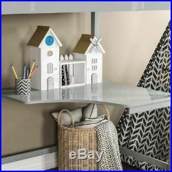 High Sleeper Bunk Bed Loft Cabin Bed Pine Wood Frame Desk Kids Single 3FT Grey