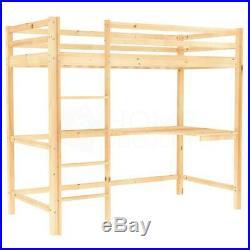 High Sleeper Bunk Bed Loft Cabin Bed Pine Wood Frame Desk Kids Single 3FT Pine