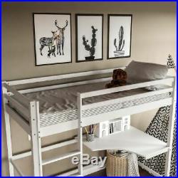 High Sleeper Bunk Bed Loft Cabin Bed Pine Wood Frame Desk Kids Single 3FT White
