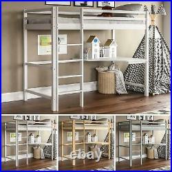 High Sleeper Bunk Bed Loft Cabin Bed Solid Pine Wood Frame Desk Kids Single 3FT