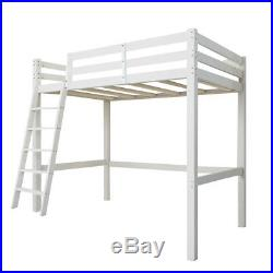 High Sleeper Cabin Wooden Pine White Kids Bunk Bed Single 3ft with Ladder Bedroom