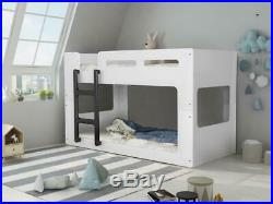 Italian Moda Style 3ft Single White Kids Wooden Bunk Bed With Black Ladder
