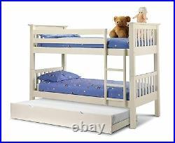 Julian Bowen Barcelona Bunk Bed Solid Wood Bed Frame 3FT Single 90cm Stone White