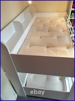Julian Bowen Domino Bunk Beds in White with mattresses, used