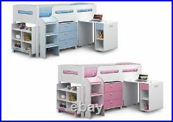 Julian Bowen Kimbo Cabin Bunk Mid Sleeper Bed Pink Blue Storage Desk Drawers