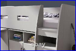 Kids Bed Cabin Bed Bunk Bed Mid Sleeper Cabinet Set with Storage & Desk Wooden