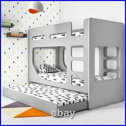 Kids Boys & Girls Modern Wooden Bunk Bed With Pull Out Trundle In Light Grey