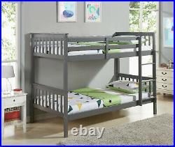 Kids Bunk Bed 3FT Single Pine Wooden Frame in White or Grey Shaker High Sleeper