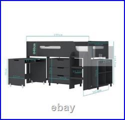 Kids Bunk Bed Cabin/Mid Sleeper with Storage & Desk (Dark Grey) DISCOUNT SALE