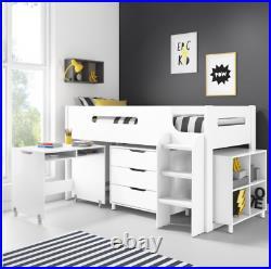 Kids Bunk Bed Cabin Wooden with Storage, Ladder + Desk Unisex Girls Boys (White)