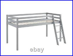 Kids Bunk Bed Mid Sleeper Wooden Pine Cabin Bed with Ladder Storage Space Grey