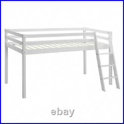 Kids Bunk Bed Mid Sleeper Wooden Pine Cabin Bed with Ladder and Storage Space