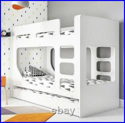 Kids Bunk Bed Unisex Girls Boys in White with Pull Out Trundle