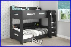 Kids Bunk Bed Wooden Storage Ladder Modern Double Bedroom Childrens Furniture