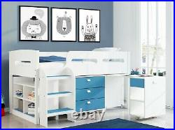 Kids Cabin Bunk Bed Single Mid Sleeper Storage Cabinet & Desk Wooden Bunk Set