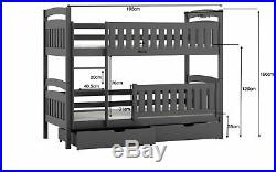 Kids Children Wooden Pine Bunk Bed IGNAS Storage Drawers in White