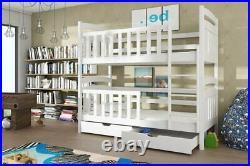 Kids Children Wooden Pine Bunk Bed SEBASTIAN With Storage Drawers in White