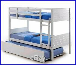 Kids Childrens White Bunk Bed with Trundle Underbed Drawers and Mattress Option