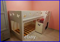 Kids Funtime Beds' Butterfly Bunk Bed, carpeted stairs + under stairs storage