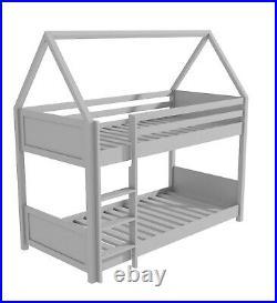 Kids House Bunk Bed Unisex Girls Boys in Light Grey