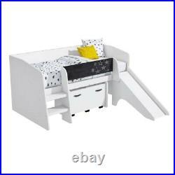 Kids Modern White Wooden Cabin Bunk Bed Slide Toy Storage Box Boys Girls Unisex
