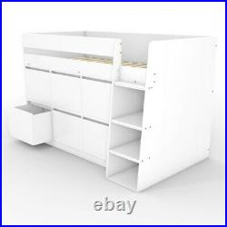 Kids White Cabin Bunk Bed + Storage Drawers Solution Wooden