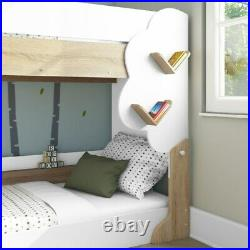 Kids White and Oak Wooden Bunk Bed with Tree Design