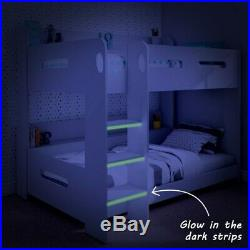 Kids Wooden White Bunk Bed Frame High Sleeper 3Ft Cabin Childrens Beds Wood