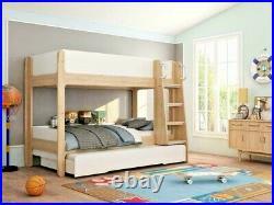 Lavish Kids Children Urban White & Oak Finish Trio Bunk Bed + Pull Out Trundle